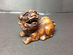 Real Japanese Netsuke Sitting Lion Carved Signed by Ishikawa Edo Era