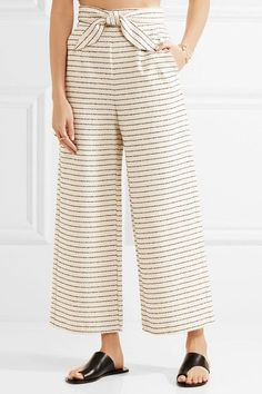 Maria Hoffman Cropped Striped Basketweave Cotton-blend Wide-Leg Pants