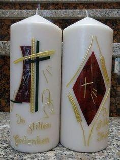 Selbstgestaltete Kerzen - TRAUERKERZEN Candle Making, Macro Photography, Candlesticks, Painting Inspiration, Pillar Candles, How To Make, Anna, Google, Embellishments
