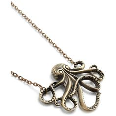 Nautical My Pet Octopus Necklace ($16) ❤ liked on Polyvore featuring jewelry, necklaces, accessories, long charm necklace, long chain necklace, pendant charms, nautical charms and chain pendant necklace