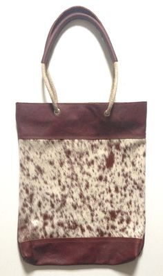 Shopper Touwhengsel brown Spots Handmade leather bag