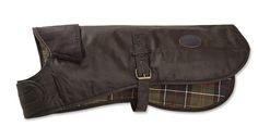 Running through the woods or through the park, this waterproof, windproof, and thornproof cotton canvas jacket protects your dog from the elements. Specially designed for Orvis by Barbour®. Buckle provides adjustability for a wide range of sizes. In olive. Measurement reflects neck-to-tail length. To determine the correct size, measure from the base of the neck to the base of the tail. Clean with cold sponge; no soap. Imported.