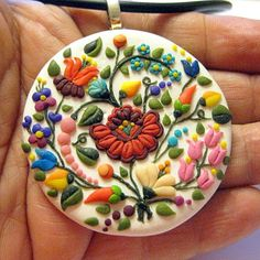 """Items similar to Hungarian folk """" Kalocsai"""" pendant on Etsy Clay Projects, Clay Art, Polymer Clay, Plates, Tableware, Handmade Gifts, Etsy, Charms, Coloring"""