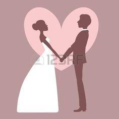 groom silhouette: Silueta de invitación de boda de la novia y el novio