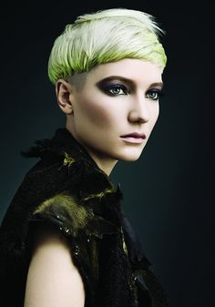 Hair by Dianan Voinescu. Chartreuse boy cut. Editorial.