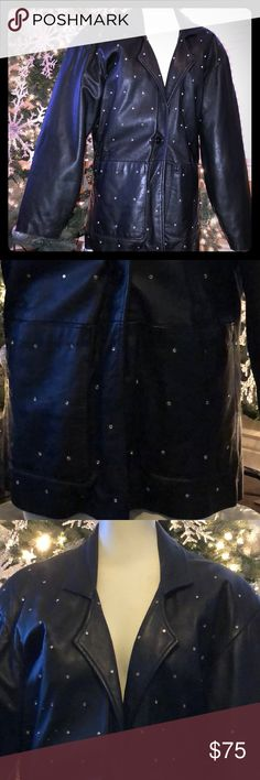 💎100% leather 💎RHINESTONE💎 vintage jacket Sz:M 100% leather rhinestone detail all throughout the front leather 1 button front jacket with 2 pockets jacket 😍 Very good condition! Has some MINOR wear on the bottom of the sleeves where leather has rubbed a but not noticeable (can't even get in a pic) & in perfect condition! ❤️😍💎 Jawani brand Jackets & Coats