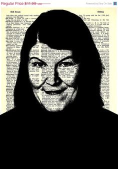 """Meredith Palmer  - The Office Series -8x11"""" Print on Vintage repurposed paper - dictionary print"""