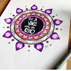 Awesome mandala with the caption Be a voice not an echo. Created by @miind.of.art which was coloured with their Chameleon Pens,  #art #mandala #drawing #draw #colour #color #chameleonpens