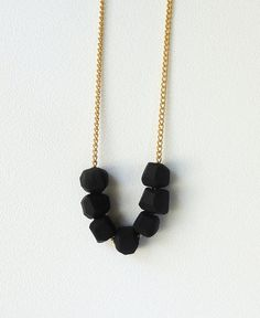 A Merry Mishap. Coal Geo Beaded Necklace