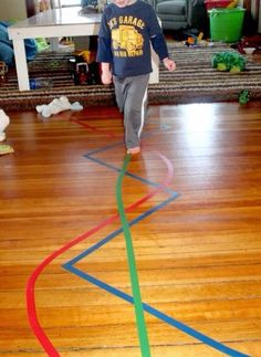 Easy motor skill activities you can do with nothing but colored tape! Handwriting for kids motor skills. Gross Motor Activities, Gross Motor Skills, Montessori Activities, Fun Activities For Kids, Indoor Activities, Infant Activities, Preschool Activities, Crafts For Kids, Maria Montessori