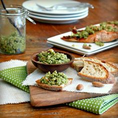 Roasted Salmon with Green Olive and Almond Tapenade - South Beach approved (without the bread)