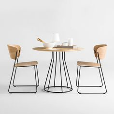 ARC is a collection of multipurpose tables and chairs which feature sinuous lines and an elegant, timeless design. The chairs stand out for the unusual sha Old Chairs, Cafe Chairs, Table And Chairs, Dining Chairs, Dining Room, Pink Chairs, Chaise Restaurant, Restaurant Chairs For Sale, Restaurant Tables
