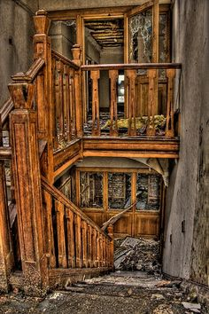 Lost | Forgotten | Abandoned | Displaced | Decayed | Neglected | Discarded | Disrepair |  Main staircase of Old Hall, England