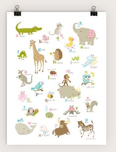 Alligator to Zebra Alphabet poster by SeaUrchinStudio on Etsy, $40.00