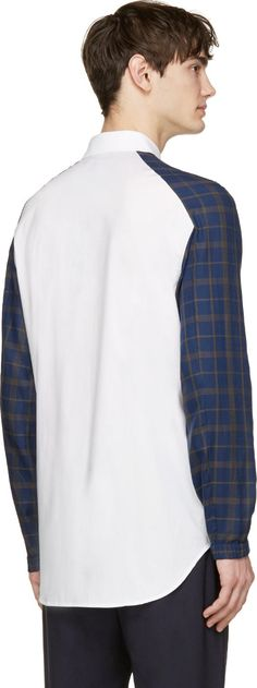 3.1 Phillip Lim White & Blue Contrast Sleeve Shirt