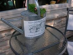 Mod Podge label on watering can