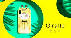 Giraffe&Rabbit Animal Cartoon Soft Silicone Cover Cute iPhone Ca Cool Phone Cases, Iphone Cases, Pink Rabbit, 3d Cartoon, Mobile Accessories, How To Look Pretty, Giraffe, Super Cute, Animation