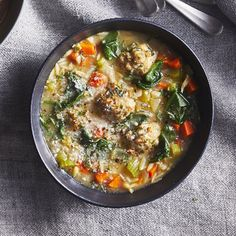 Easy Italian Wedding Soup Recipe - EatingWell Forget the marble-size meatballs you find in many versions of this soup. In this easy recipe, they're full-size, full-flavored and plenty filling. Italian Wedding Soup Recipe, Giada De Laurentiis, Cooking Recipes, Healthy Recipes, Easy Recipes, Oven Recipes, Popular Recipes, Recipies, Comfort Food