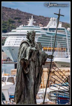 Monumento a *SANTIAGO* en el puerto de Cartagena junto al puerto de pescadores. España. Valencia, Cartagena Spain, Barcelona, Statue Of Liberty, Travel, Sevilla, Guadalajara, Santiago, Statue Of Liberty Facts