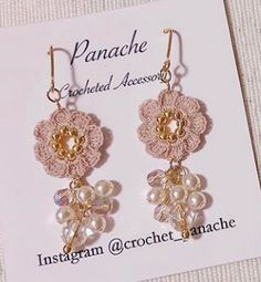 30 Luxury Earrings in Crochet Love Crochet, Crochet Motif, Crochet Flowers, Crochet Patterns, Cute Jewelry, Diy Jewelry, Beaded Jewelry, Jewelery, Crochet Earrings Pattern