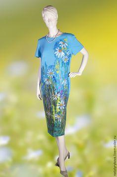 Купить Ромашки платье трикотаж валяный декор - цветочный, Платье нарядное, платье вечернее