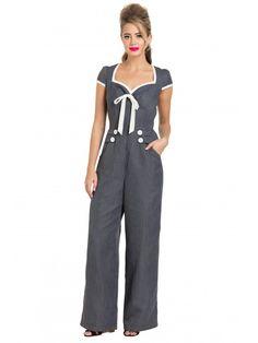 78678d0e018 Voodoo Vixen Women s Leanne - Grey Striped Jumpsuit