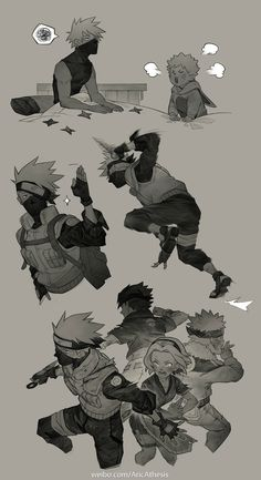 by AricAthesis posted with permission, commercial use forbidden My translation of artist's notes: The artist says she was inspired by Yuki Kimisawa's performance as Kakashi in the Naruto Live. Kakashi Hatake, Naruto Shippuden Anime, Naruto And Sasuke, Gaara, Itachi, Boruto, Naruto Boys, Team 7, Naruto Teams