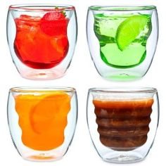 Handmade Double Wall Glasses -  suspends drinks within an inner wall for a cool look.