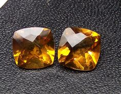 Masterpiece 9 x 9 mm Antique Cushion Shaped Checkered Board Cut Premium Citrine Gemstone100 % Natural : Matched Pair for EarringCuff-Link