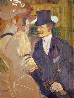 Henri de Toulouse-Lautrec, (French, 1864–1901). The Englishman (William Tom Warrener, 1861–1934) at the Moulin Rouge, 1892. The Metropolitan Museum of Art, New York. Bequest of Miss Adelaide Milton de Groot (1876–1967), 1967 | William Tom Warrener, an English painter and friend of Lautrec's, appears as a top-hatted gentleman chatting up two female companions at the Moulin Rouge, the dance hall that epitomized the colorful and tawdry nightlife of fin-de-siècle Paris. #paris