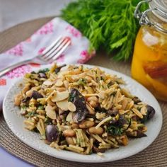 Orzo pasta with preserved lemon, white beans and caramelized mushrooms #HealthyAperture