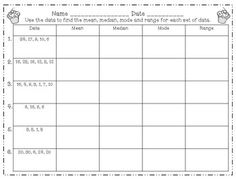 Worksheets Measure Of Central Tendency Worksheet ranges cards and worksheets on pinterest measures of central tendencymean median mode range task worksheets