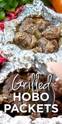 Camping Food Discover Grilled Hobo Packets (with steak and potatoes) Hobo Packets (also called Campfire Packets) are stuffed full of meat and potatoes with tons of flavor and easy cleanup! A whole meal in one! Foil Packet Dinners, Foil Pack Meals, Tin Foil Dinners, Camping Desserts, Camping Dishes, Grilling Recipes, Beef Recipes, Cooking Recipes, Cooking Foil