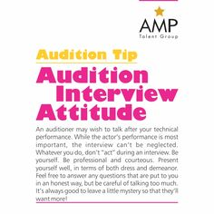 Always be prepared for the interview after the audition performance! #AMPTalent…
