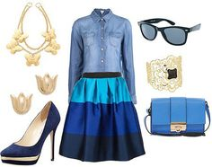Blue Stripe and chambray #outfits #outfitoftheday
