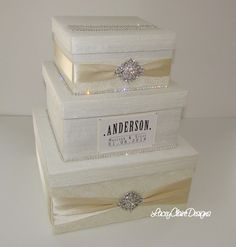 Ivory and Champagne Wedding Gift Box Card Box Money Holder by LaceyClaireDesigns, $115.00