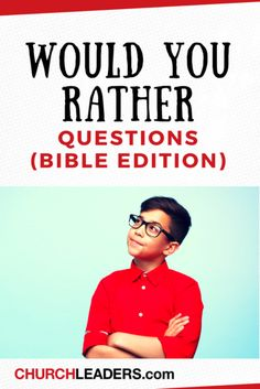 These would you rather questions make an excellent icebreaker for youth groups and for family gatherings. BONUS: your students might actually want to read the Bible after answering these questions! Bible Games For Youth, Youth Bible Lessons, Youth Group Lessons, Youth Group Activities, Games For Teens, Bible For Kids, Therapy Activities, Games For Youth Groups, School Lessons