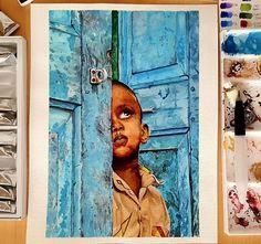 En sevdiğim çalışmalarımdan biri oldu 🤗 #indian #child #watercolor #blue #drawing #art #watercolour #painting #artcreation #vangogh #work #suluboya #resim #sanat #hint #çocuk
