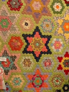 'Stars in my Garden'. Hexagon quilt hand pieced and hand quilted.