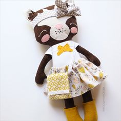 Coco 17 Cloth Kitty/Cat Doll with removable by PocketswithPosies