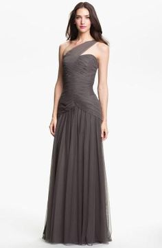 Best Buy Monique Lhuillier Pleated One Shoulder Tulle Trumpet Gown by wedding new dress