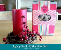 Gift Idea: Upcycled Pasta Box with Cranberry Party Mix - The Peaceful Mom Holiday Gifts, Christmas Gifts, Holiday Ideas, Christmas Ideas, Simple Gifts, Cool Gifts, Diy Gifts On A Budget, Homemade Gift Boxes, Party Mix Recipe