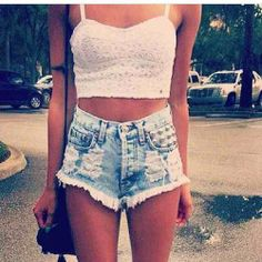 high wasted shorts. white crop top