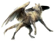 pictures of winged animals wolves and cats | Wolf with wings by Kipine: