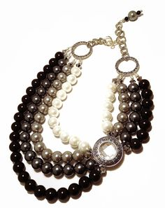 VINTAGE, Statement Necklace, Black, Gray, White, Ombre, Antique, Broach, Multi-strand, Crystal, Pearls, Jewelry by Jessica Theresa. $75.00, via Etsy.