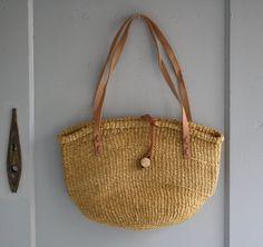 vintage woven sisal bag by littlebyrdvintage on Etsy