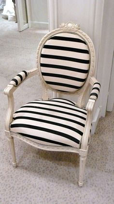 black & white french stripes... umm, i need this chair! it's so adorable and would look great in my room!
