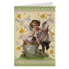 Beautiful Easter Angel Glittered Easter Card ~ Germany
