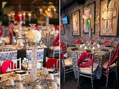 Glamorous red and black table settings, photographed by Candice Jones Photography. Featured in the Summer 2013 issue of the Nashville Pink Bride Magazine - The Pink Bride www.thepinkbride.com {Fashion Shoot: Vintage Glamour at the Nashville Hard Rock Cafe}