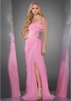 Strapless Sweep Train Pink Chiffon Sheath Column Evening/Military Ball Dress